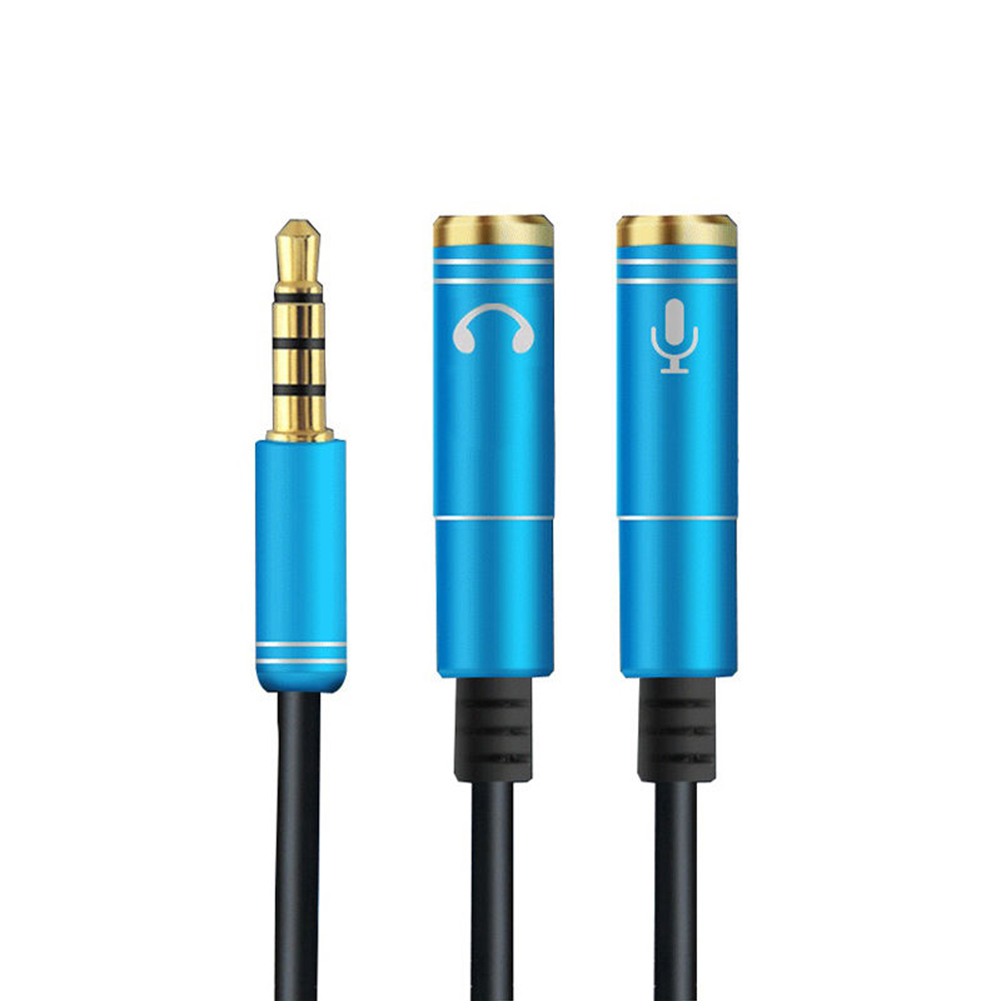 2 in 1 3.5mm Headphone Mic Audio Y Splitter Cable Male to Dual Female Converter Adapter blue