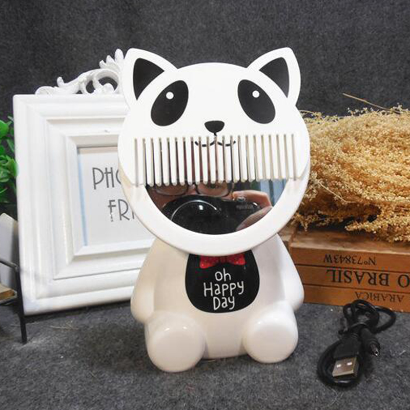 USB Chargeable Cute Portable Night Light with Comb & Mirror Bed Lamp Home Office Decoration Gift