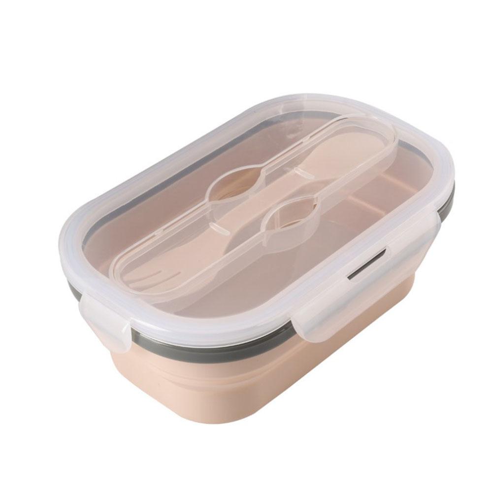 Square Shape Folded Telescopic Silicone Lunch Box Kitchen Food Storage Container Nordic apricot