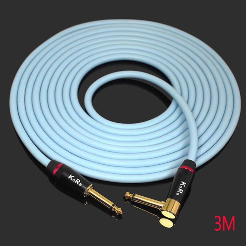 KGRB Electric Guitar Cable Connecting Line Instrument Bass Keyboard Drum Pure Copper Noise Reduction Shield blue_3 meters_Straight elbow head