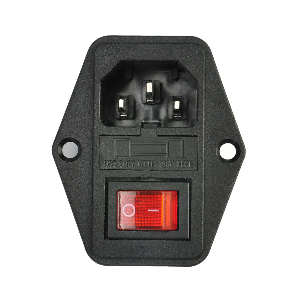 3 Pin IEC320 C14 AC Inlet Male Plug Power Socket with Fuse Switch 10A 250V 3 pin
