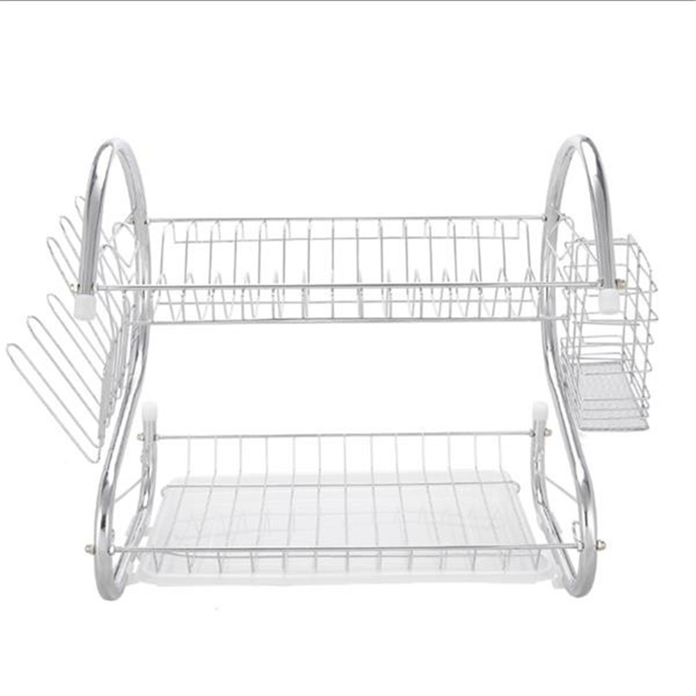 [US Direct] 2 Tier Dish Drying Rack Rust-proof Treatment Dish Rack Utensil Holder For Kitchen Counter Top Silver
