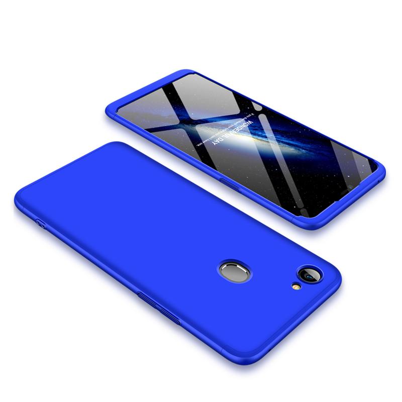 For OPPO F7 Ultra Slim PC Back Cover Non-slip Shockproof 360 Degree Full Protective Case blue