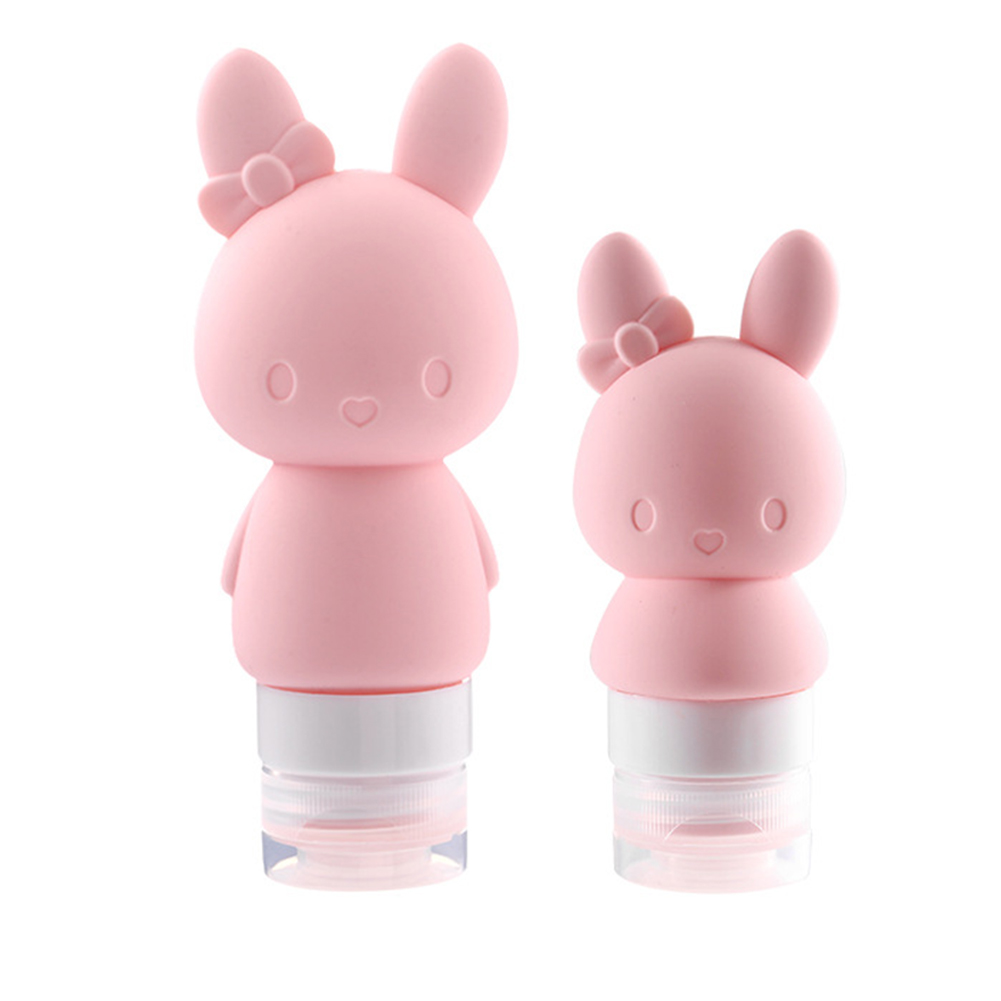 Multi-function Cartoon Animal Bottle Silicone Cute Makeup Container Refillable Bottle Cute rabbit pink 89ml / single