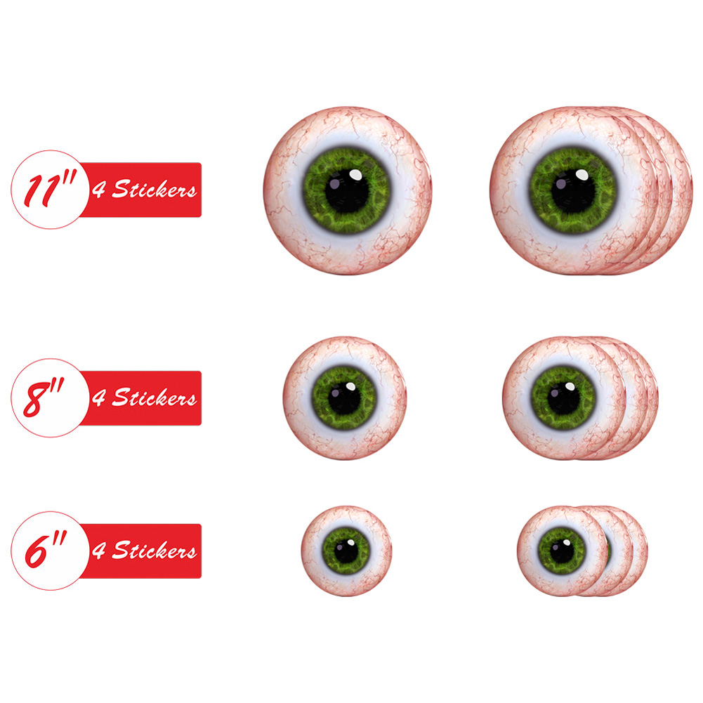 12Pcs Halloween Round Floor Sticker Home Decor Living Room Scary Eyes Wall Sticker Party Holiday Decals HW006
