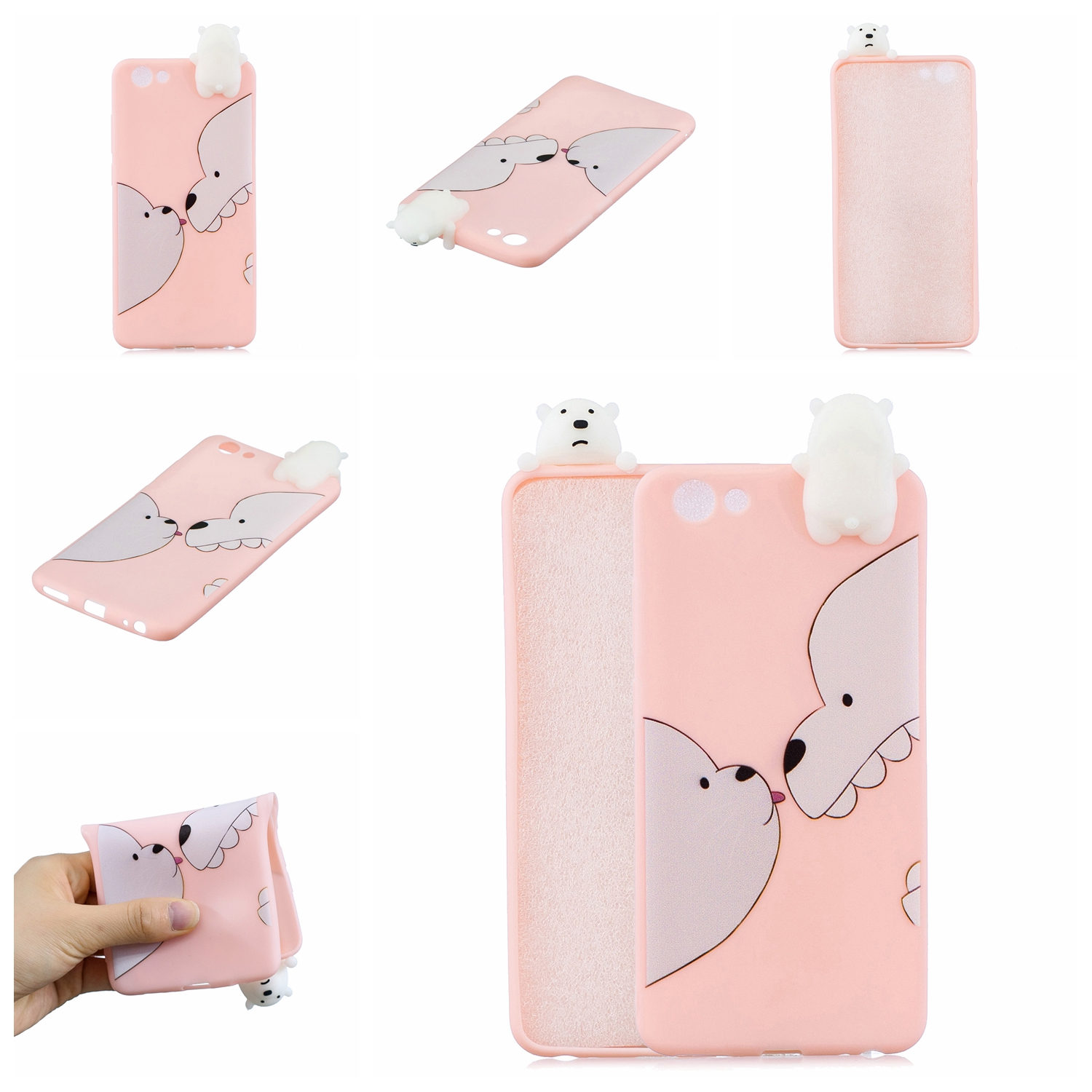 For VIVO Y71 3D Cute Coloured Painted Animal TPU Anti-scratch Non-slip Protective Cover Back Case Big white bear