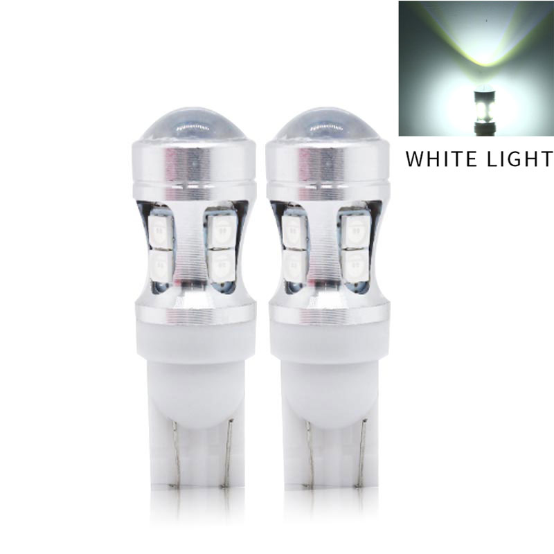 2PCS 12V W5W 194 T10 3030 10 SMD LED Bulb Pathway Door Side marker Instrument Clearance Lights  White light