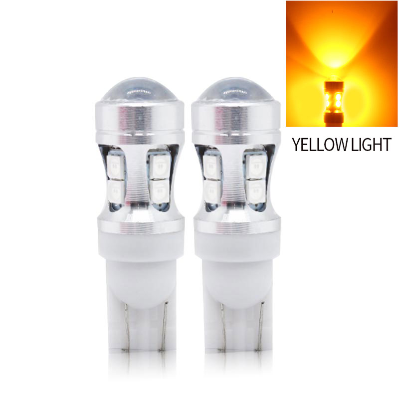 2PCS 12V W5W 194 T10 3030 10 SMD LED Bulb Pathway Door Side marker Instrument Clearance Lights  Yellow light