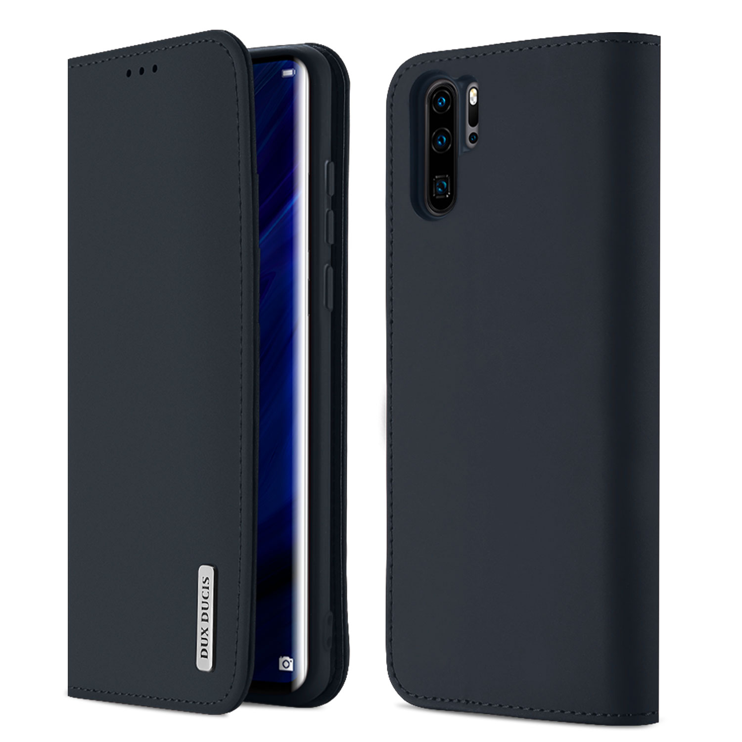 DUX DUCIS For Huawei P30 pro Luxury Genuine Leather Magnetic Flip Cover Full Protective Case with Bracket Card Slot blue_Huawei P30 pro