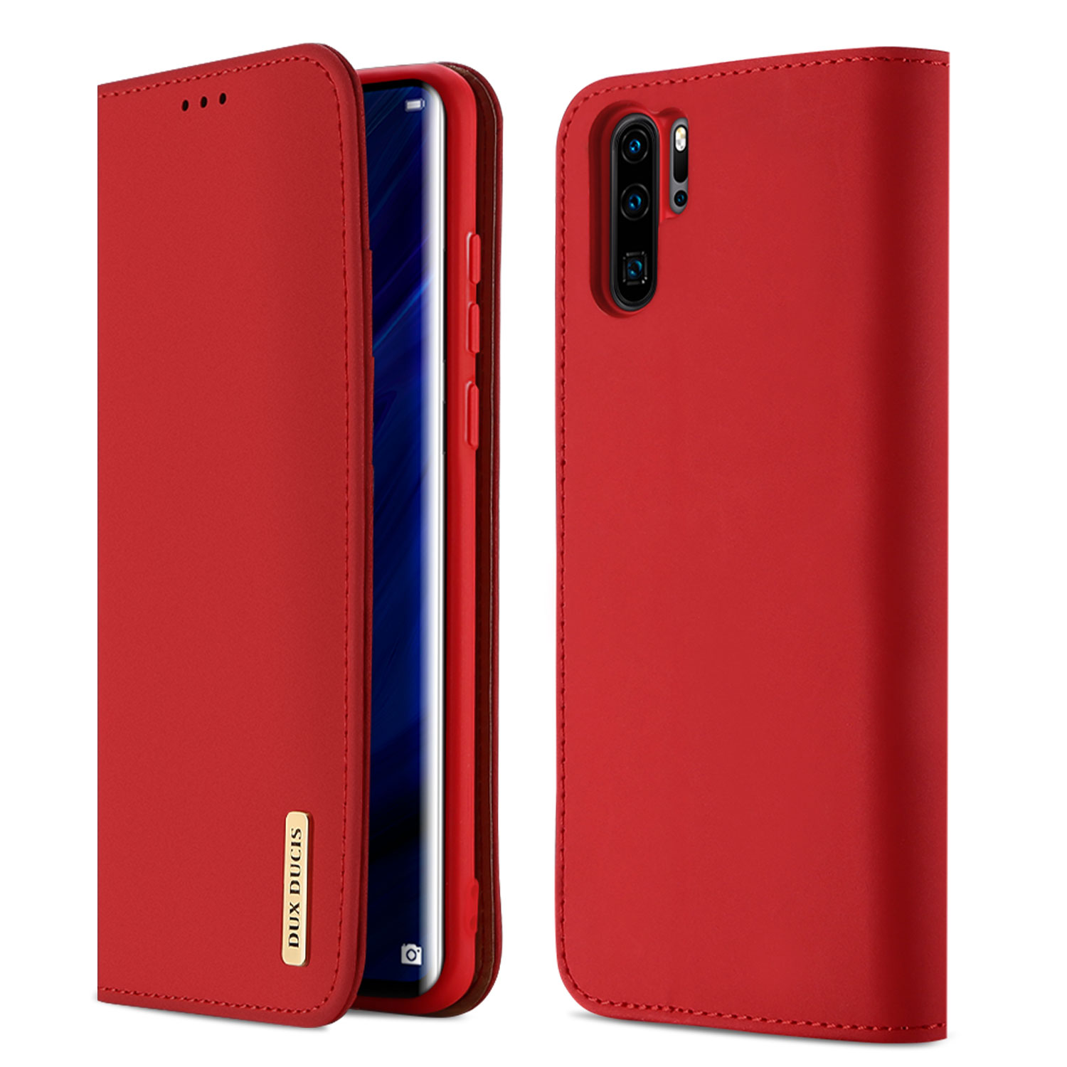 DUX DUCIS For Huawei P30 pro Luxury Genuine Leather Magnetic Flip Cover Full Protective Case with Bracket Card Slot red_Huawei P30 pro