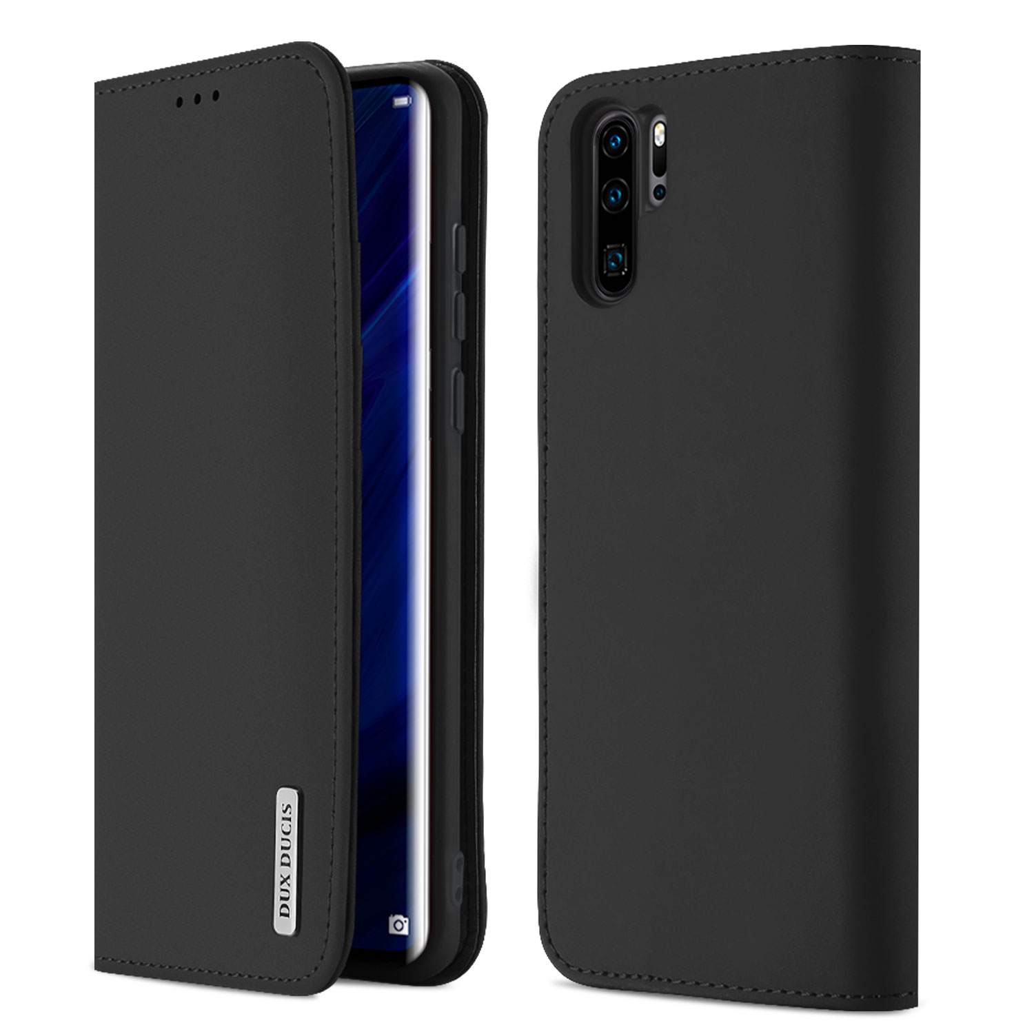 DUX DUCIS For Huawei P30 pro Luxury Genuine Leather Magnetic Flip Cover Full Protective Case with Bracket Card Slot black_Huawei P30 pro