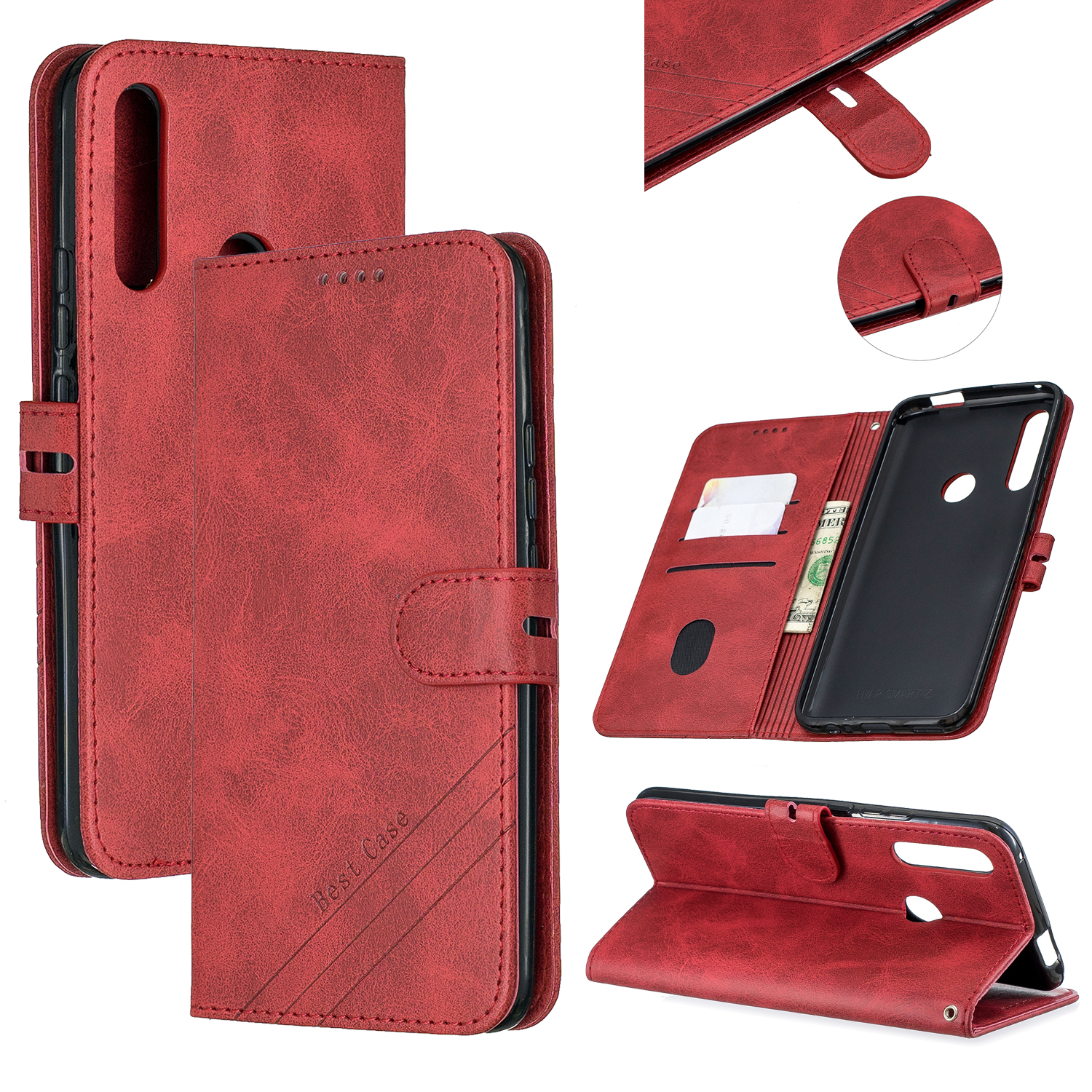 For HUAWEI Y9 Prime 2019-P Smart Z Solid Color Denim Grain Front Buckle Mobile Phone Cover Bracket red