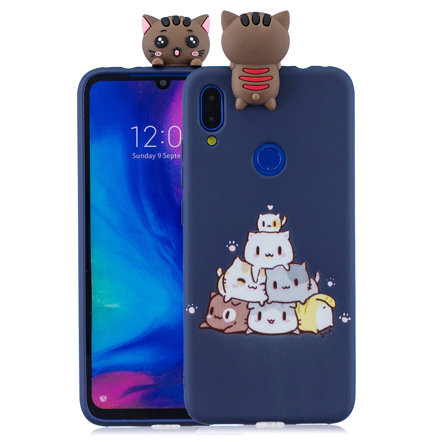 For Redmi NOTE 7 3D Cute Coloured Painted Animal TPU Anti-scratch Non-slip Protective Cover Back Case sapphire