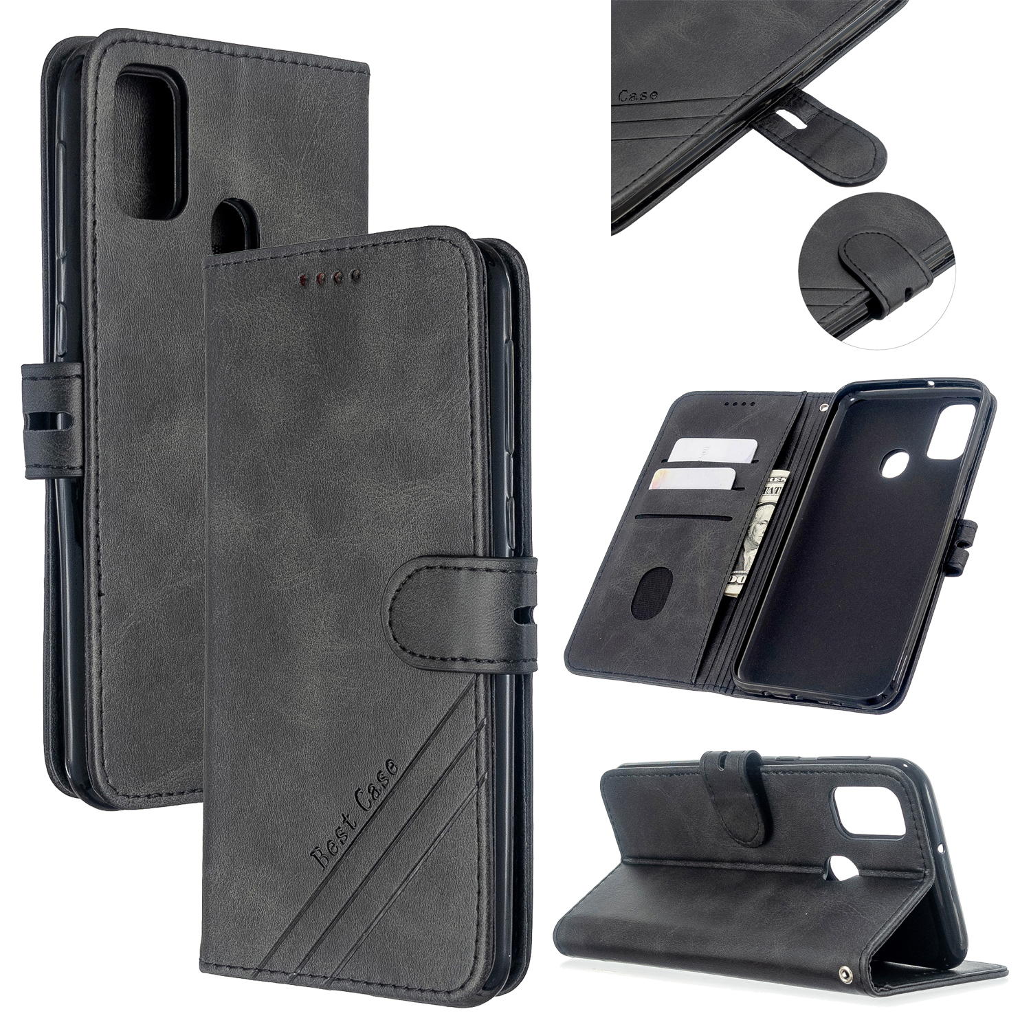 For Samsung A51/A71/M30S Case Soft Leather Cover with Denim Texture Precise Cutouts Wallet Design Buckle Closure Smartphone Shell  black