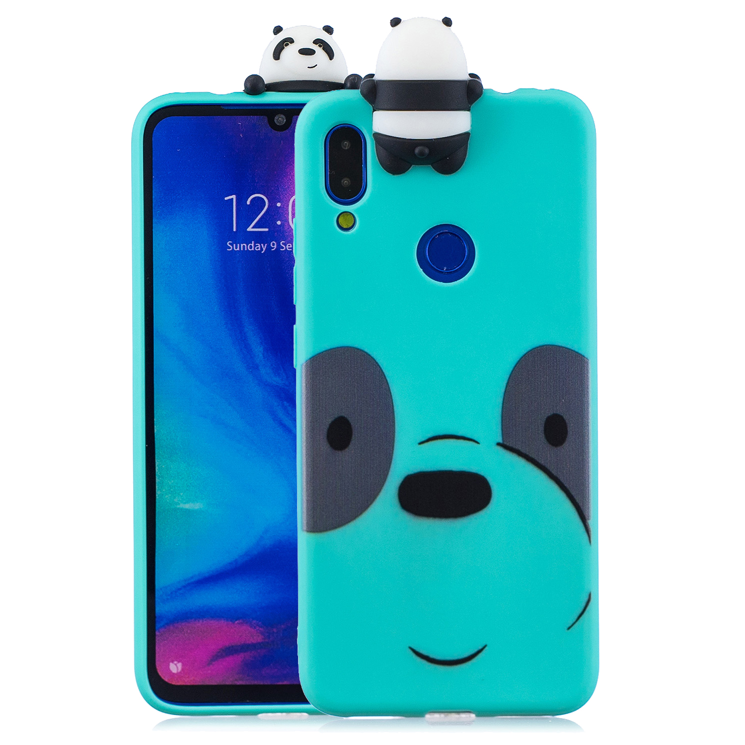 For Redmi NOTE 7 3D Cute Coloured Painted Animal TPU Anti-scratch Non-slip Protective Cover Back Case Light blue
