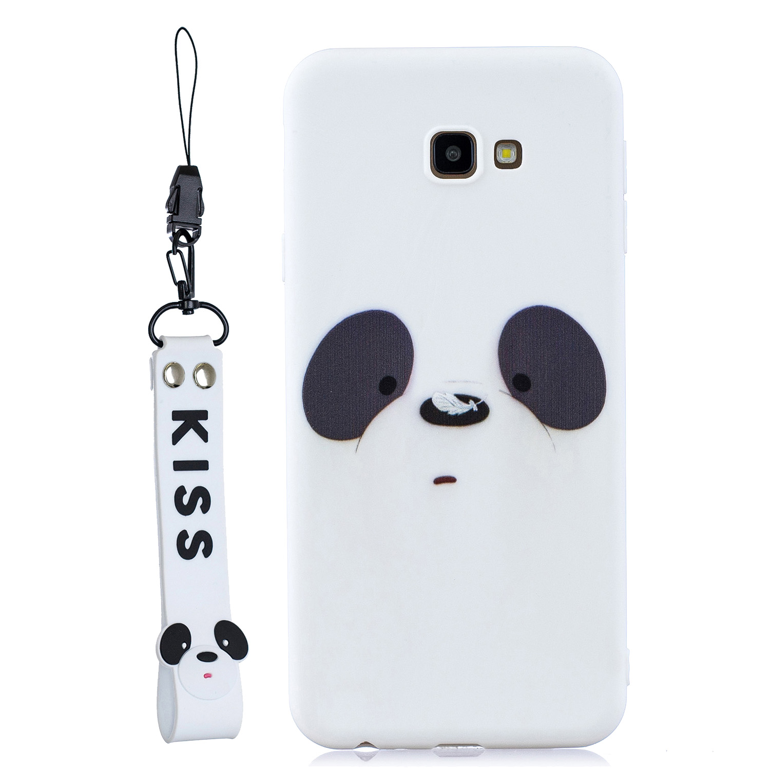 For Samsung J4 plus Cute Coloured Painted TPU Anti-scratch Non-slip Protective Cover Back Case with Lanyard white