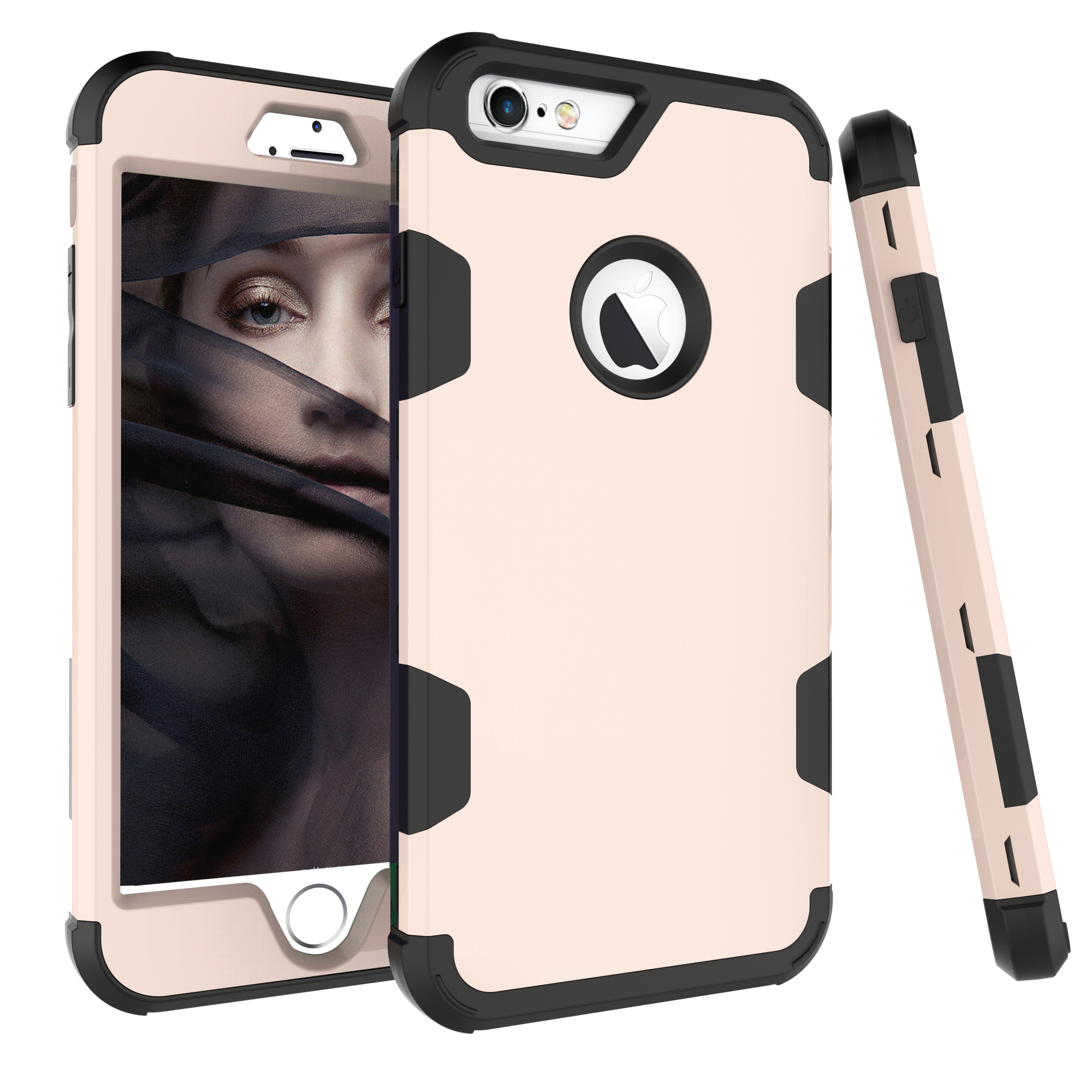 For iPhone 6 plus/6S plus PC+ Silicone 2 in 1 Hit Color Tri-proof Shockproof Dustproof Anti-fall Protective Cover Back Case Gold + black