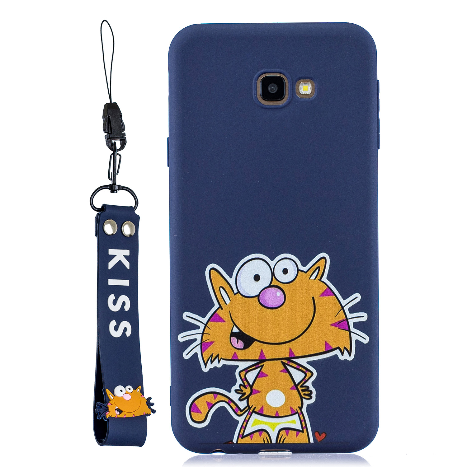 For Samsung J4 plus Cute Coloured Painted TPU Anti-scratch Non-slip Protective Cover Back Case with Lanyard sapphire