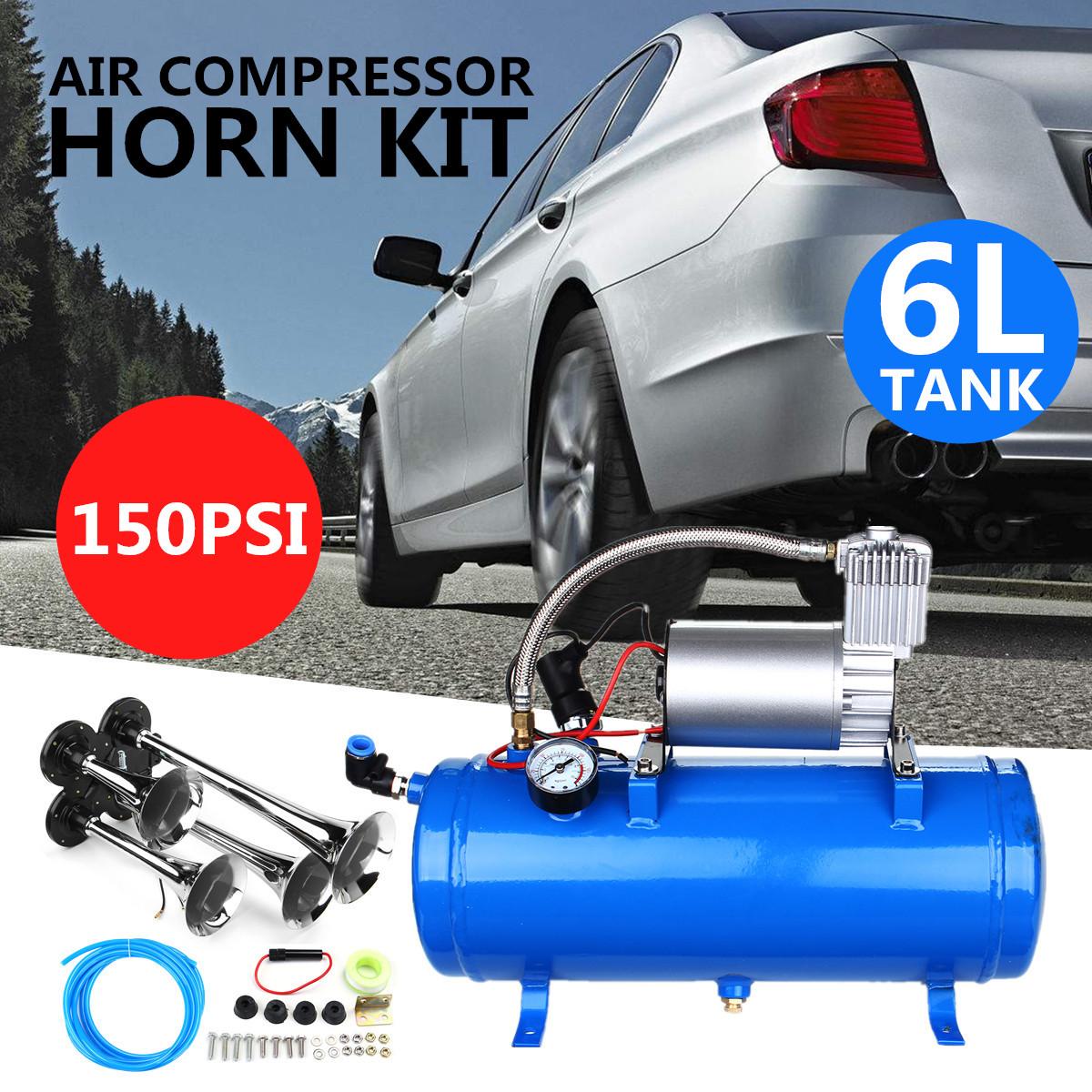 6L 150Psi Chrome Trumpet Vehicle Air Horn 12V Compressor Tubing for Car 4 horn + compressor