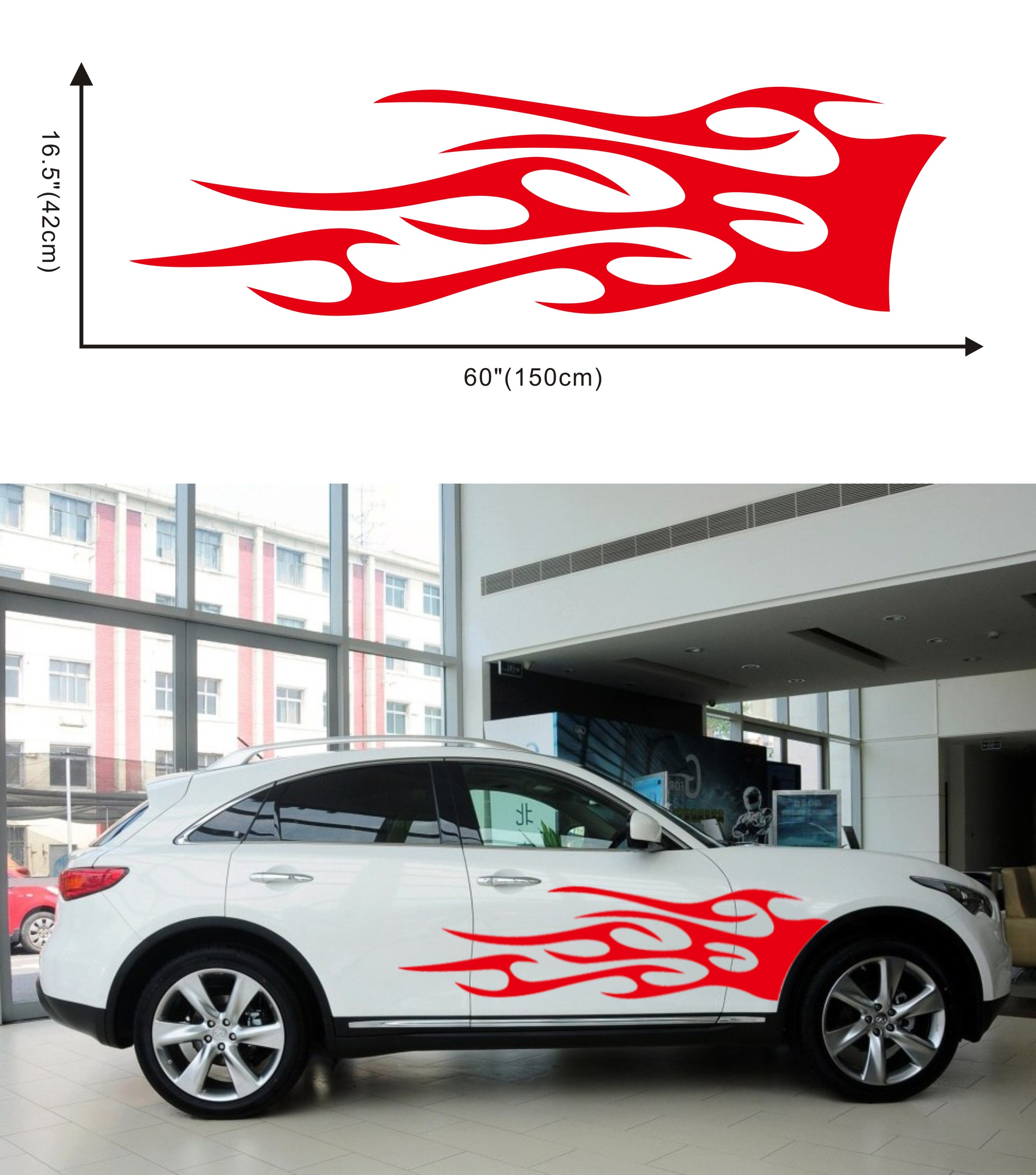 1 Pair Car Truck Totem Flame Graphics Label Side Vinyl Body Sticker Cool Waterproof Auto Sticker red