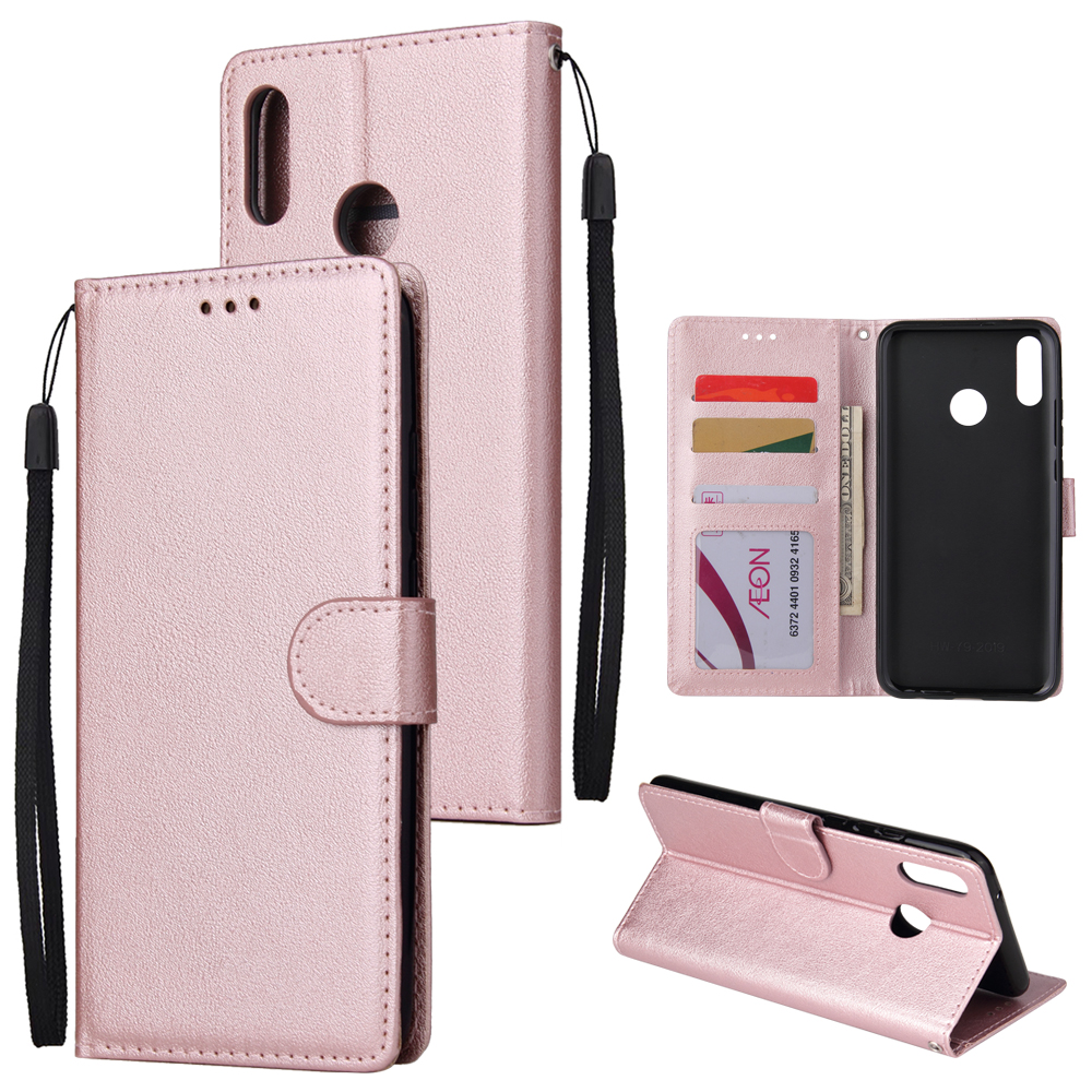 For HUAWEI Y9 2019 Flip-type Leather Protective Phone Case with 3 Card Position Buckle Design Phone Cover  Rose gold