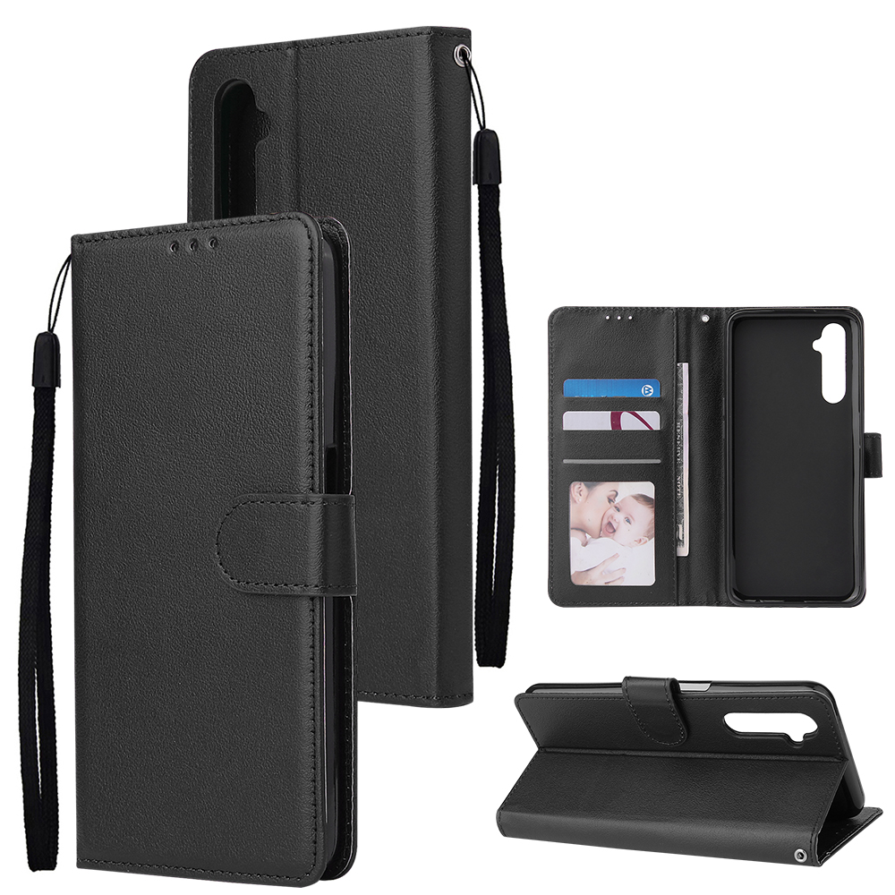 For OPPO Realme C3/Realme 6 PU Leather Mobile Phone Cover with 3 Cards Slots Phone Frame black