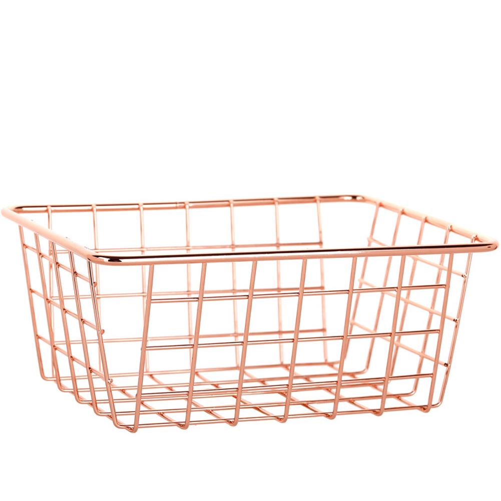 Iron Storage Basket Desktop Bathroom Organizer Fruit Snacks Holder Home Sundries Containe Large rose gold