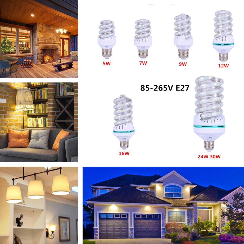 LED Highlight Spiral Corn Bulb 85-265V E27 Warm Light