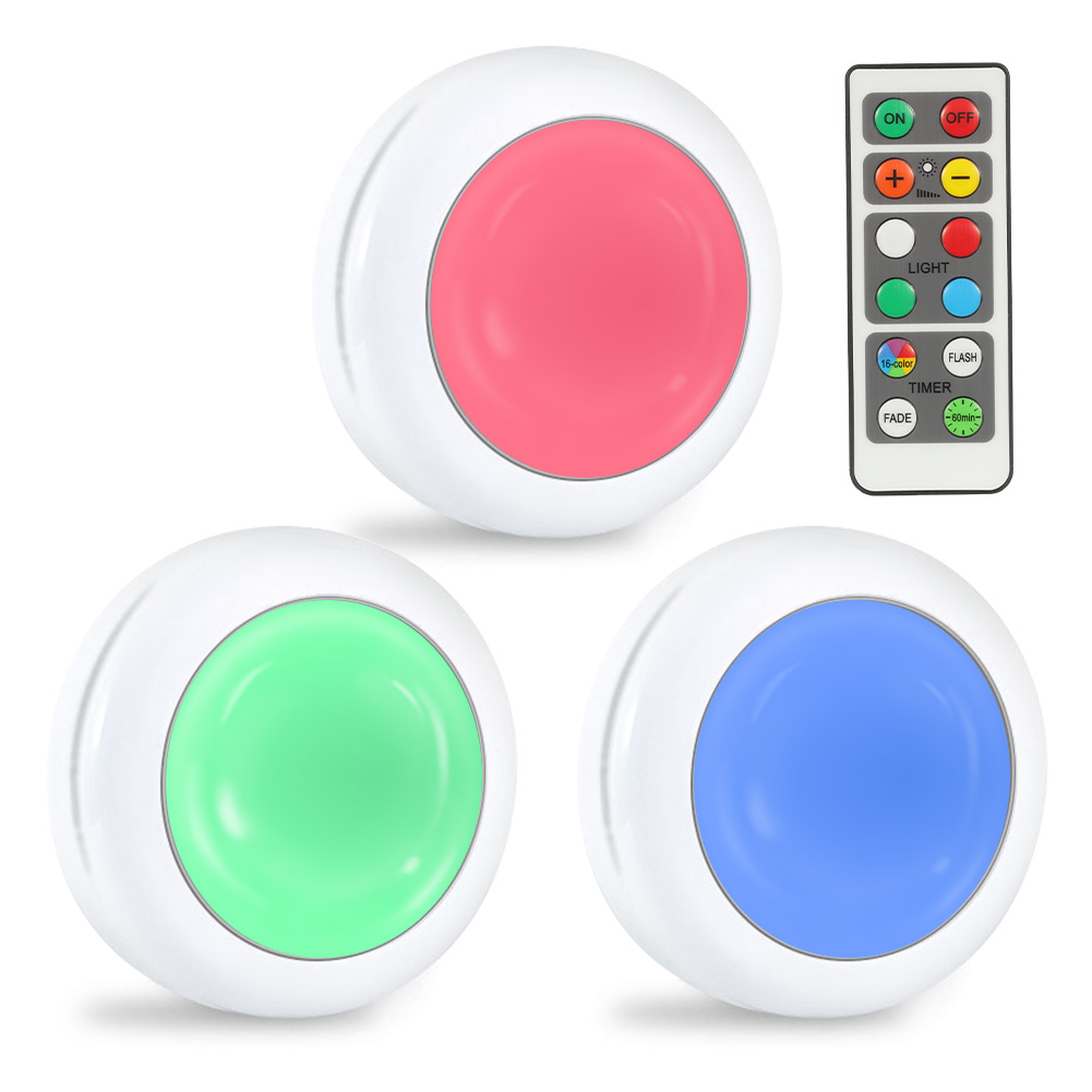 Lunsy 6PCS Wireless Color Changing LED Puck Lights with 2PCS Remote Controls, LED Under Cabinet Lighting, Closet Light Set, Round Cabinet Lights