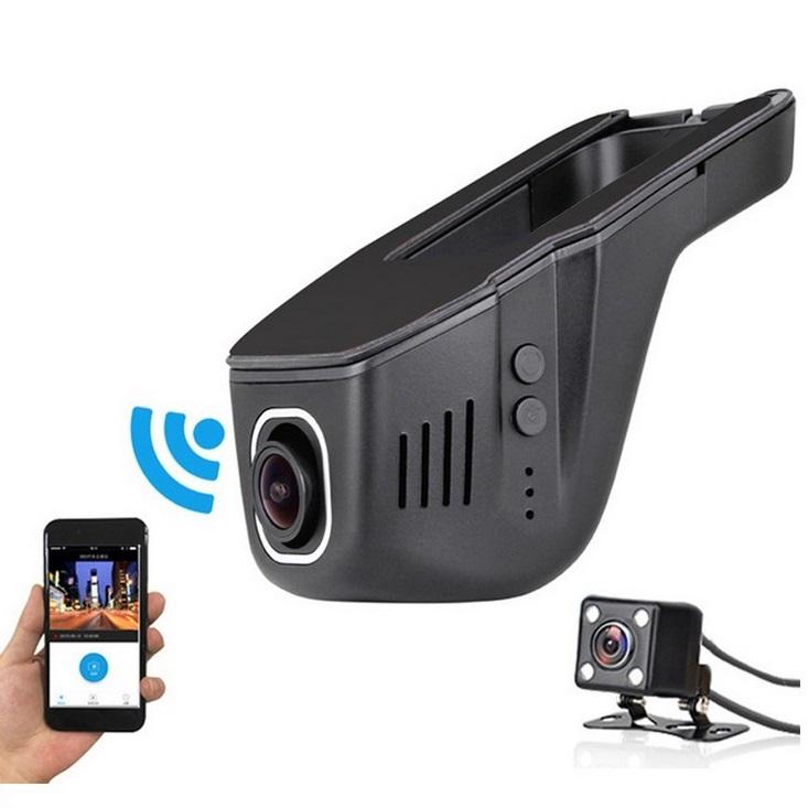 V24B Hidden Dashcam WIFI Car DVR Dash Cam Full HD Front 1080P Rear 720P Dual Lens Driving Recorder Video Recording Dash Camera black