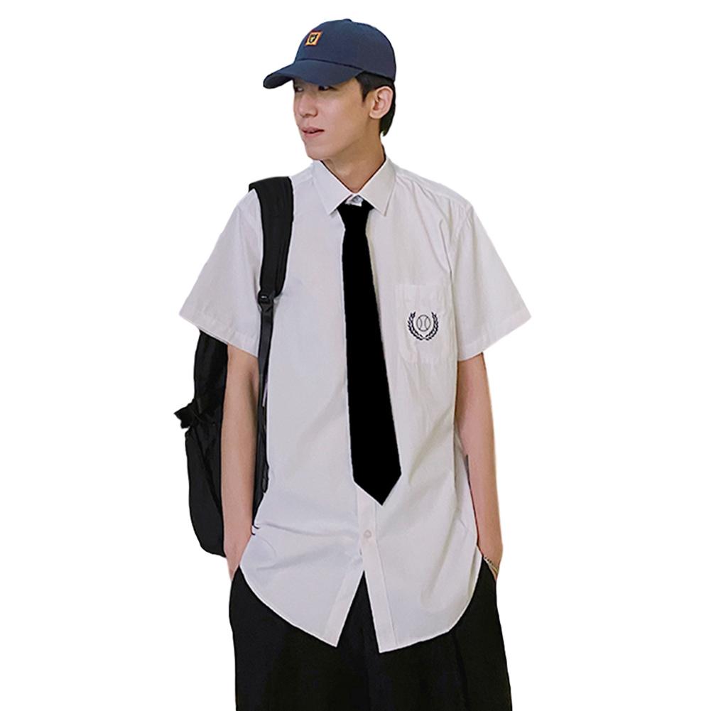 Men Short Sleeve Shirt with Tie Spring Summer Thin Summer Coat Blouse White_XXL