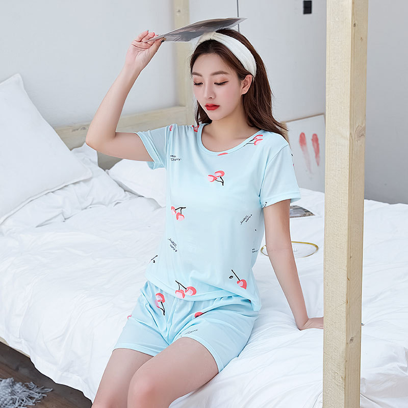 Woman Fashion Short Sleeves Cute Pattern Printing Homewear Suit #D Blue_M