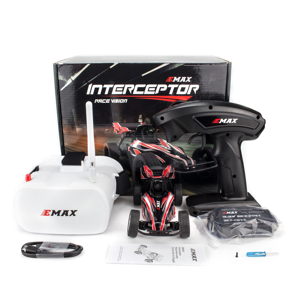EMAX Interceptor 1/24 2.4G RWD FPV RC Car with Goggles Full Proportional Control RTR Model  Car + remote control + glasses