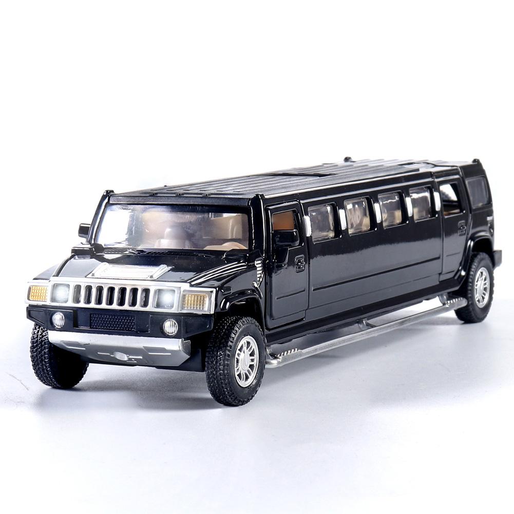 Simulate 1:32 Lengthen Model Car Sound Light Toy for Hummer  black