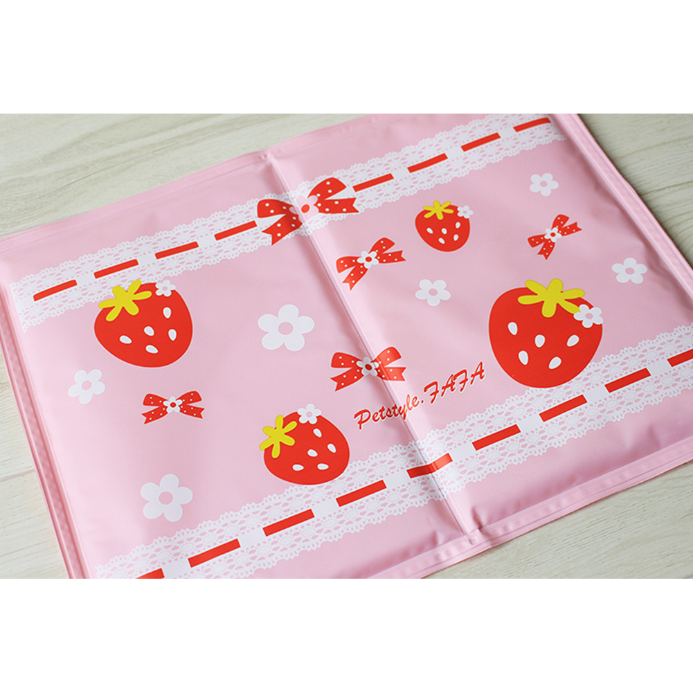 Summer Cooling Pad Ice Pad with Strawberry Decor Dog Sleeping Mats Portable Travel Camping Bed Pink_L 50 * 40cm