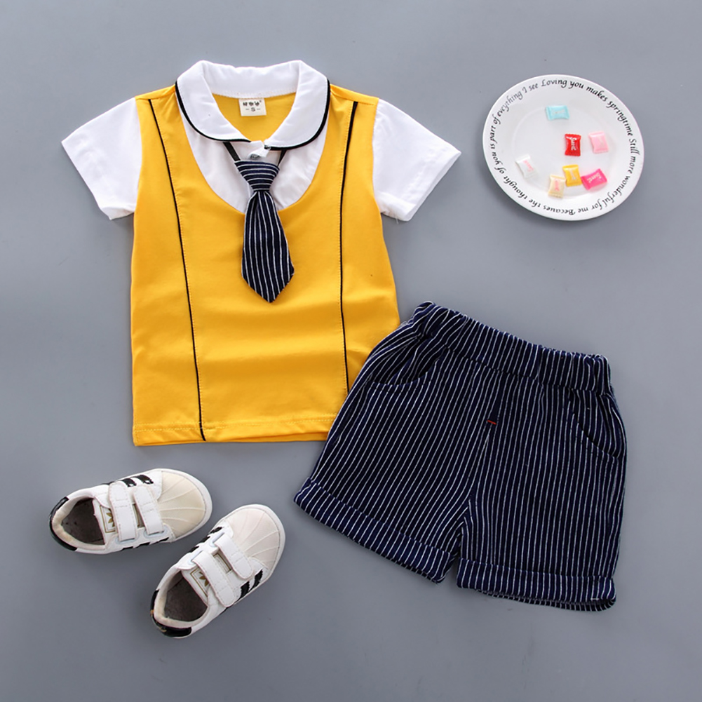 2pcs/set Boy Sports Suit Baby Gentleman Tie Pattern Short Sleeve T-shirt + Short Suit yellow_80cm