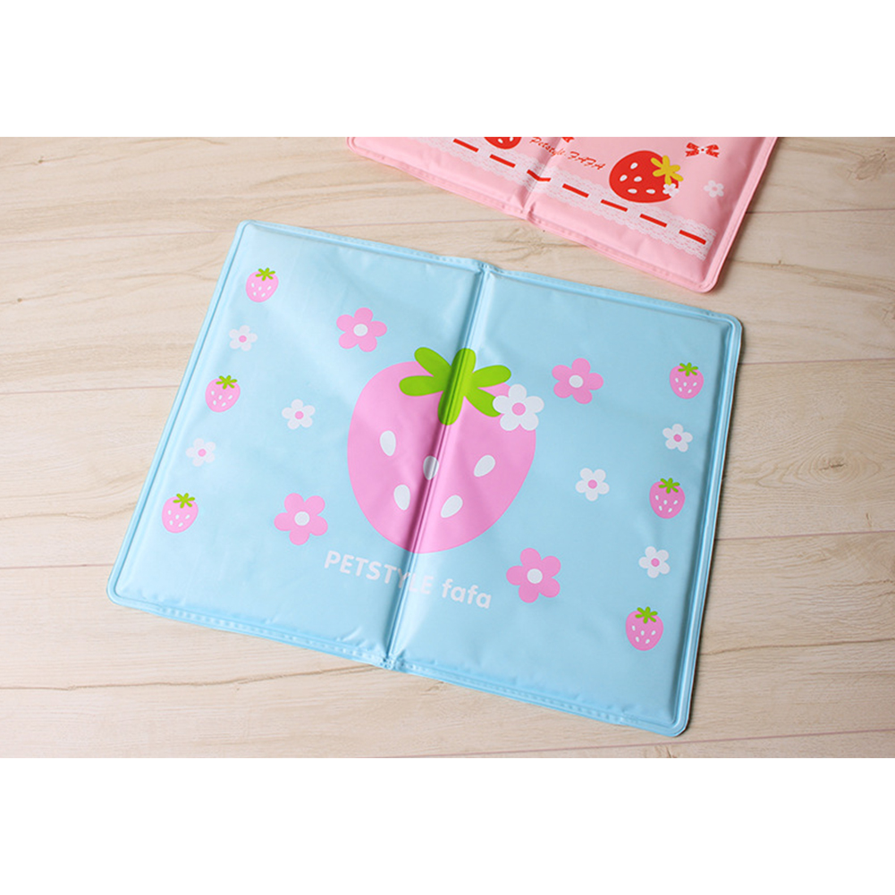 Summer Cooling Pad Ice Pad with Strawberry Decor Dog Sleeping Mats Portable TravelCamping Bed blue_L 50 * 40cm