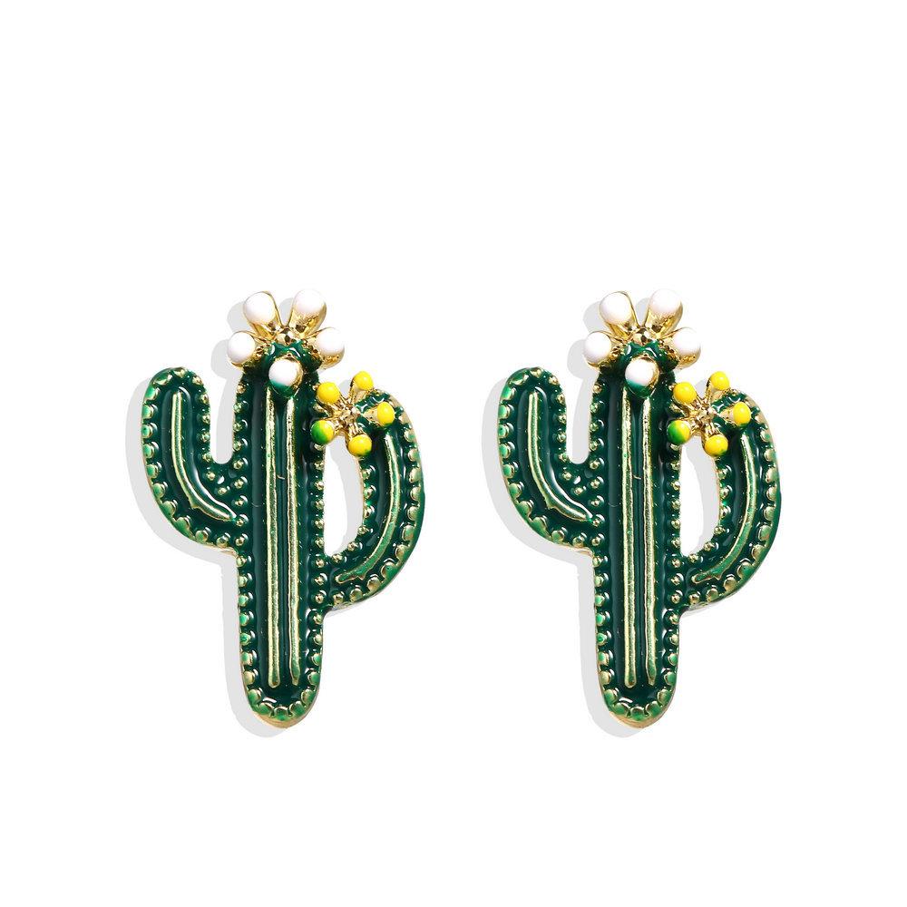 1 Pair Women Ear Studs Cactus Earrings Simple Alloy Plant Eardrop Jewelry green