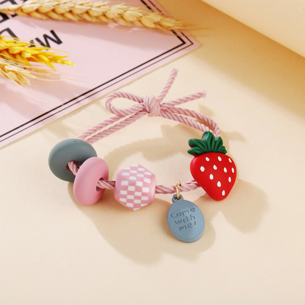Girl Hair Rope Colorful Fruit Cute Elastic Rubber Band Ponytail Headwear Headdress Strawberry