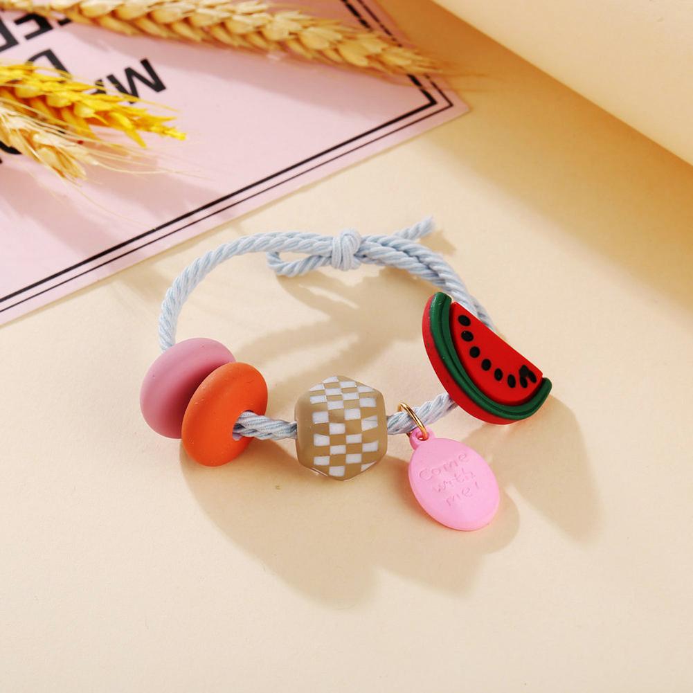 Girl Hair Rope Colorful Fruit Cute Elastic Rubber Band Ponytail Headwear Headdress watermelon