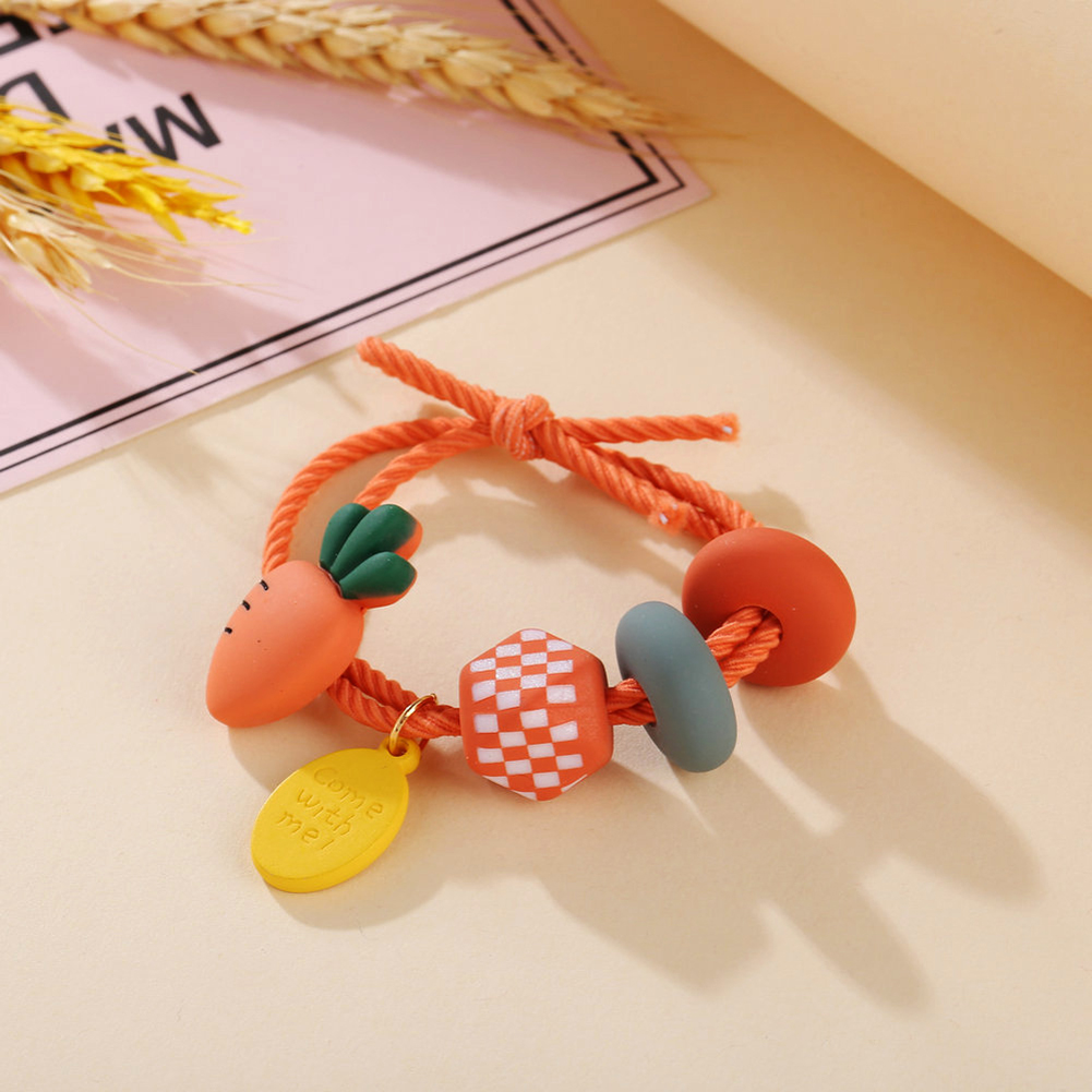Girl Hair Rope Colorful Fruit Cute Elastic Rubber Band Ponytail Headwear Headdress radish