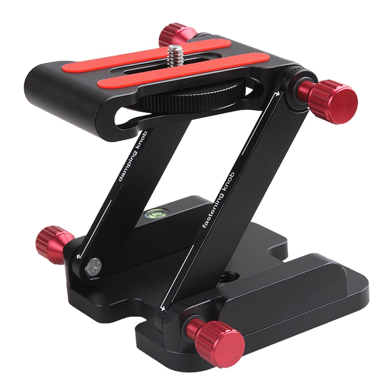 Z Flex Tilt Head Folding Quick Release Plate Camera Ball Head Stand for DSLR Tripod Slider Rail Stabilizer Black + red