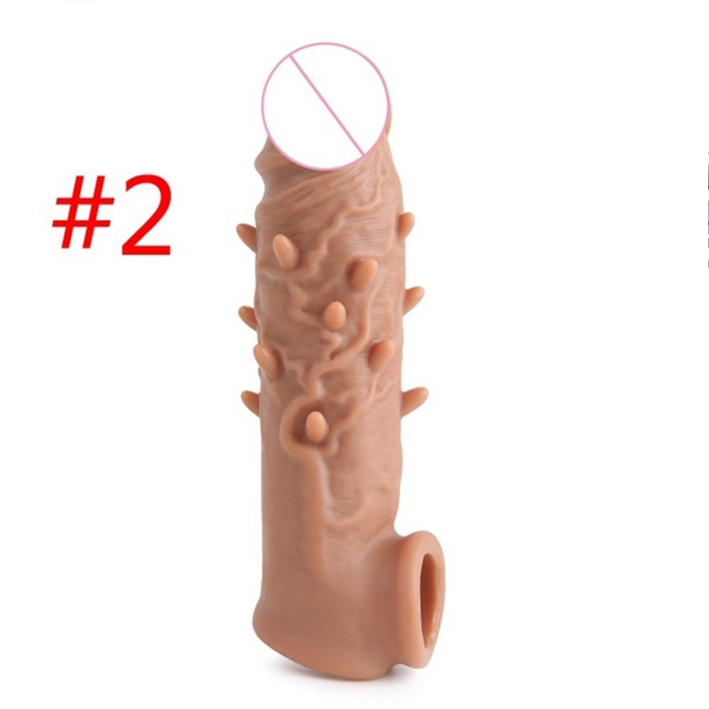 Reusable Penis Enlargement Silicone Condom Penis Extension Cover Male Cock Prolonged Ejaculation Toy Male #2