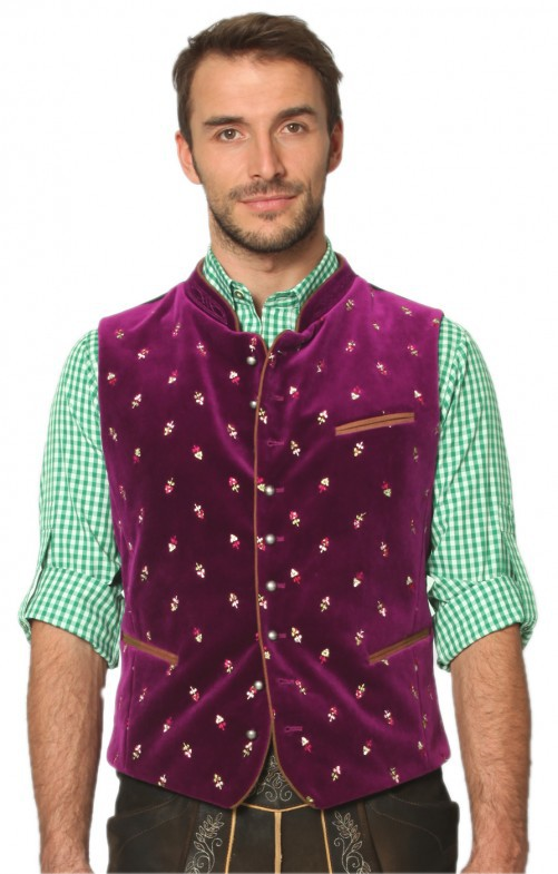 Men Casual Vest Beer Festival Waistcoat for Bavarian Traditional Costume Festival Party Embroidered rose red_50