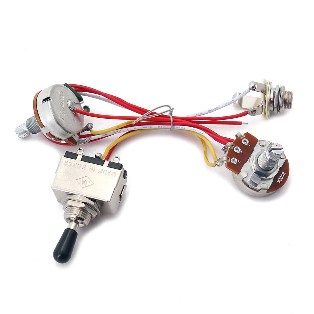 Wiring Harness Kit 3 Way Toggle Switch 3 Way Toggle Switch 2 Pickup Harness 300K Pots for LP Electric Guitar Silver