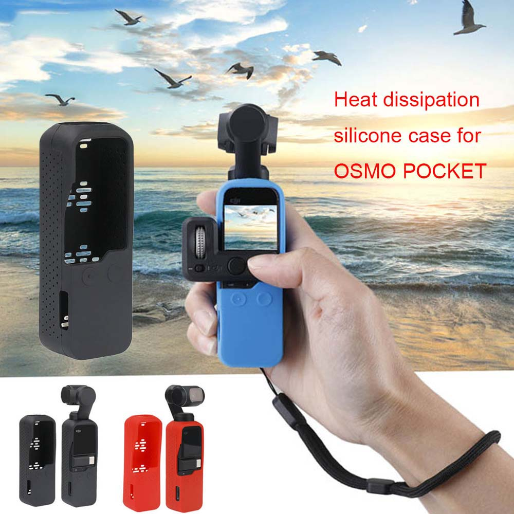Multi Functional Silicone Cover Heat Dissipation Case Strap Combo for DJI Osmo Pocket 3-axis Stabilized Mini Camera blue