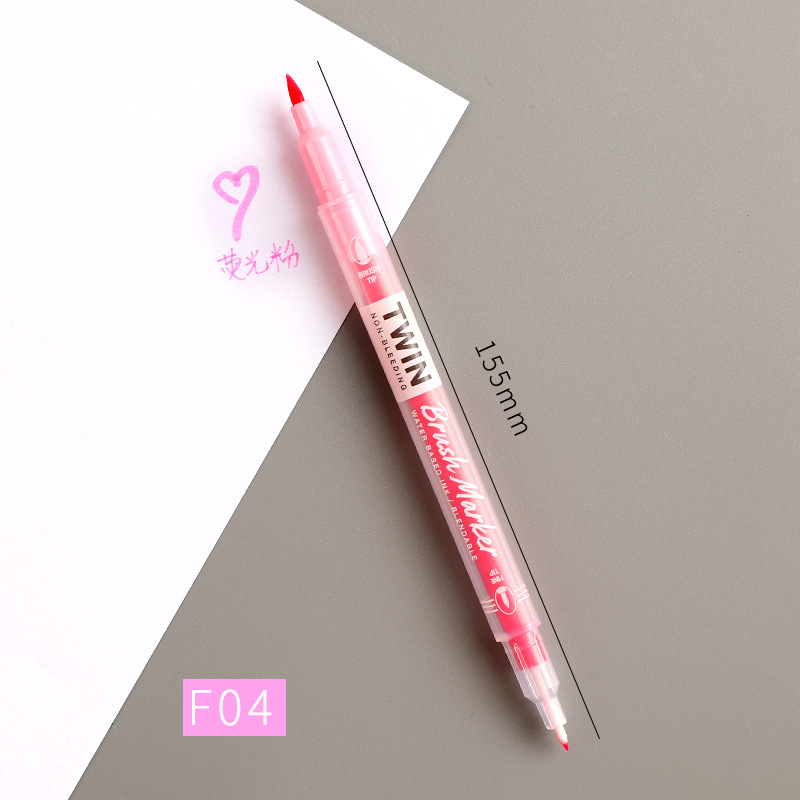 Double Head Marker Pen Multi Color Watercolor Water Based Hand Account Painting Pen Stationery Office Stationery F04 fluorescent pink_15cm