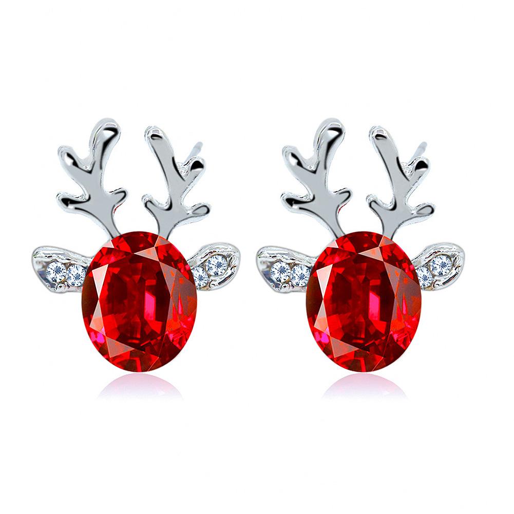 1pair Women Fashion Elegant 3D Artificial Crystal Deer Horn Design Earring All-match Ear Studs