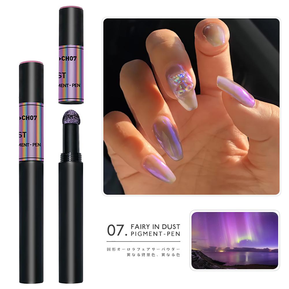 Solid Powder Air Cushion Magic Pen Nail Art Magic Mirror Effect Phantom Nails Pen Manicure Tools Aurora Mirror-07#