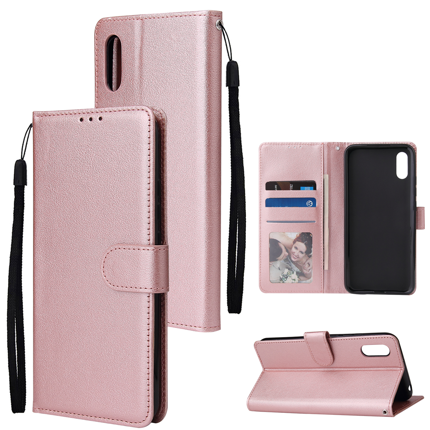 For Redmi 9A/Redmi 9C PU Leather Mobile Phone Cover with 3 Cards Slots Phone Frame Rose gold